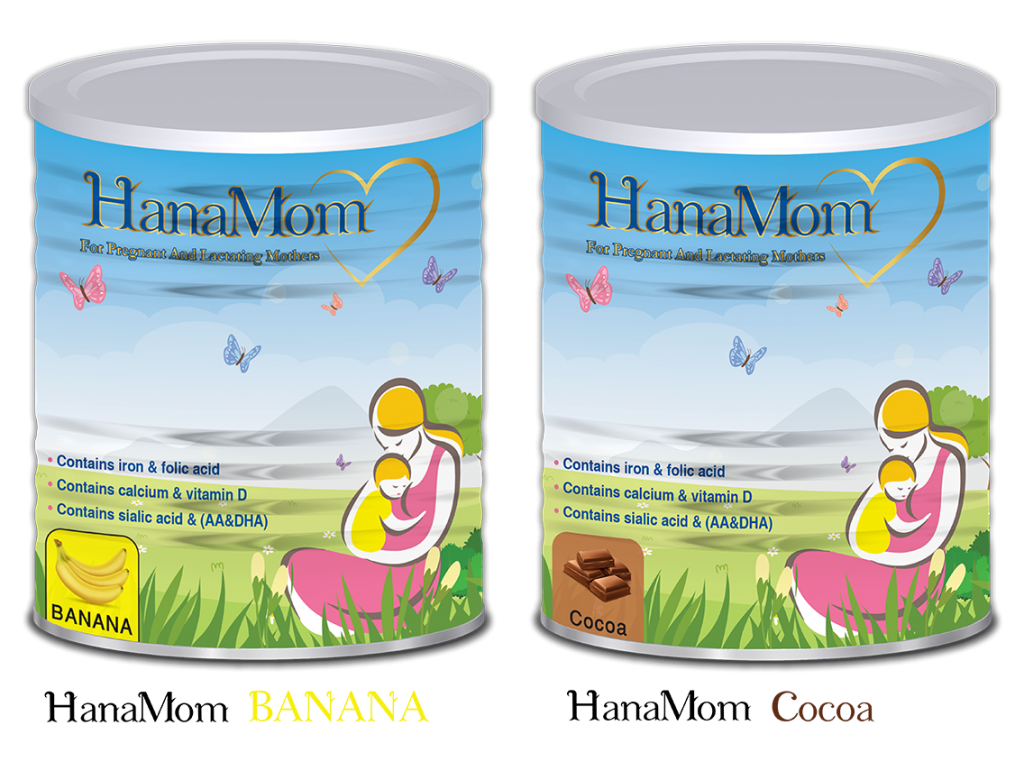 hanamom contain calcium , folic acid , iron , vitamin A and vitamin D and based on cow's milk